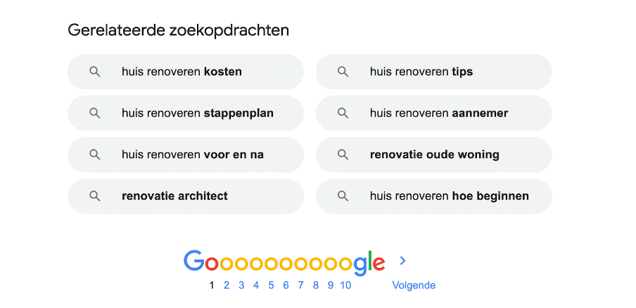 Google Related Searches als inspiratiebron